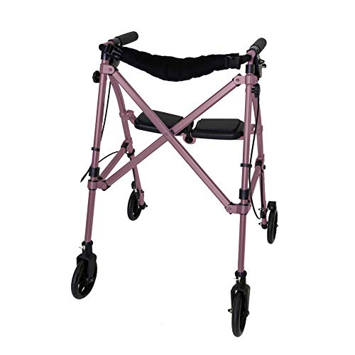 Able Life Space Saver Rollator Lightweight Folding Mobility Rolling Walker for Seniors and Adults 6inch Wheels Locking Brakes and Padded Seat with Backrest Regal Rose