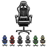 Soontrans Computer Gaming Chair PU Leather Office Chair Racing Stytle for Gaming E-Sports Chair Ergonomic Office Chair with Retractable Footrest,Height Adjustment,Lumbar Support (Carbon Black
