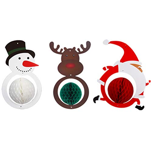 HEREB Decorative pendant,3pcs/set Christmas Paper Flower Hanging Balls Santa Snowman Elk Pom Poms Honeycomb Balls Hanging Parachute Home Party Decor