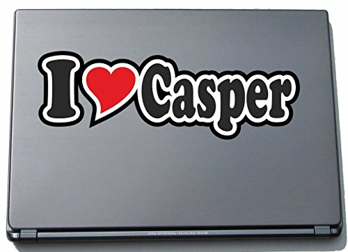 INDIGOS UG - Aufkleber - I Love Heart Decal Sticker Laptopskin 297 mm - Ich Liebe - I Love Casper - Laptop Netbook Computer - Sticker mit Namen vom Mann Frau Kind