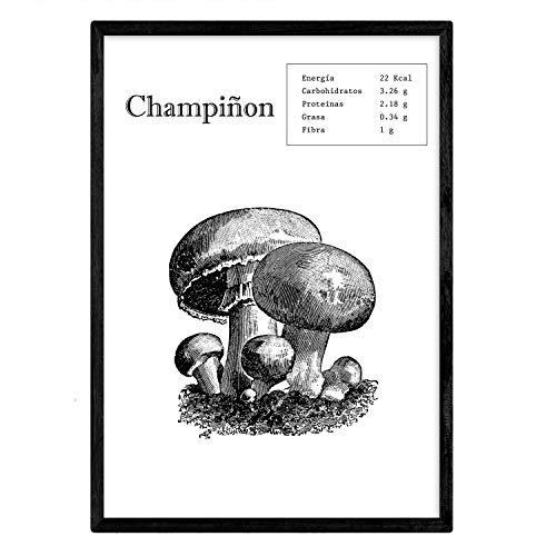 Nacnic Poster de Champiñon. Láminas de Frutas y Verduras. Tamaño A4