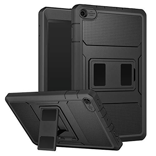 MoKo Case for All-New Amazon Fire HD 8 Tablet (7th / 8th Gen, 2017 / 2018 Release) - [Heavy Duty] Shockproof Full Body Rugged Hybrid Cover with Built-in Screen Protector for Fire HD 8, BLACK