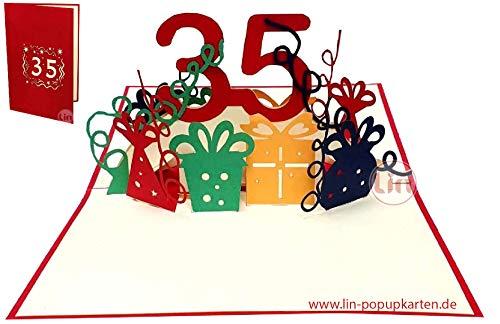 LIN17640, POP UP 3D Karte, Pop Up Geburtstagskarte 35 Jahre, Grußkarten Geburtstag 35, Pop - Up Karte, POP UP Karten Geburtstag, Hochzeitstag 35 Jahre, Jubiläum 35 Jahre, N372