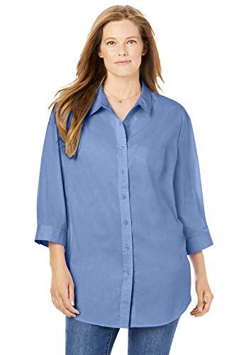 Woman Within Women's Plus Size Printed Three-Quarter Sleeve Perfect Shirt - M, French Blue