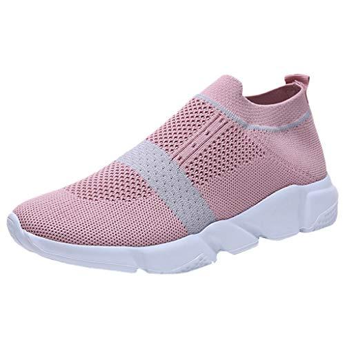 Deloito Damen Laufschuhe Draussen Freizeit Turnschuhe Mesh Atmungsaktive Schlüpfen Sportschuhe Weichem Boden Dämpfung Sneaker (Rosa,39 EU)