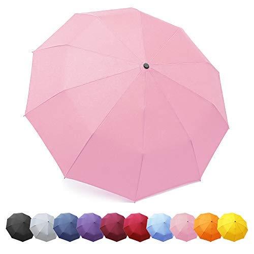 ZOMAKE Regenschirm, Kompakt Taschenschirm mit Auf-Zu-Automatik - Sturmfest bis 140 km/h, Schirm für Klein, Leicht, Windsicher(Pink/Neu)
