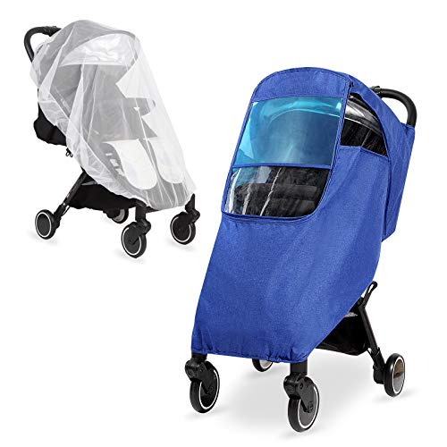 Hrzeem Stroller Rain Cover & Mosquito Net, Universal Weather Shield Stroller Accessory for Waterproof, Windproof, Protect from Rain Wind Sun Snow Dust