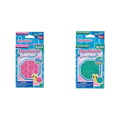 Aquabeads 32728 Glitzerperlen Bastelperlen nachfüllen pink & 32698 Glitzerperlen Bastelperlen nachfüllen grün