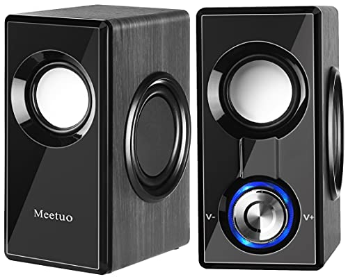 PC Speakers for Desktop, Meetuo Computer Speakers Bluetooth 5.0 & Wired USB Powered Connectivity, Powerful Stereo Sound Built-in 4 Bass Diaphragms Wooden Speakers for Tablet Laptop (Upgraded)