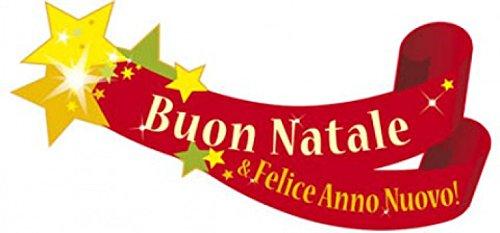 1art1 Natale - Buon Natale E Felice Anno Nuovo! Sticker per Finestre (60 x 28cm)