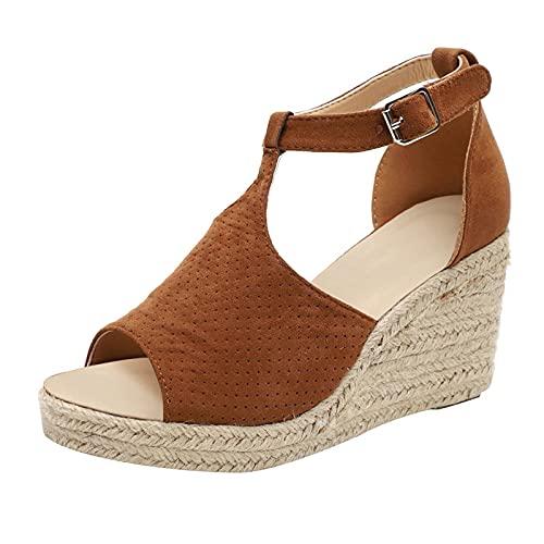 Sandalias para mujer, sandalias de verano, sandalias romanas, ortopédicas, antideslizantes, plataforma, para la playa, Marrón, 39 EU