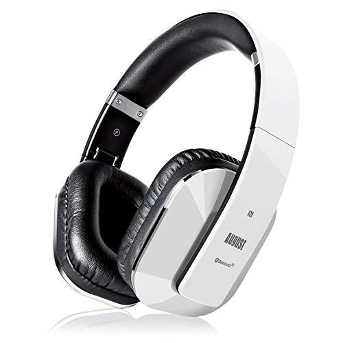Cascos Inalámbrico con aptX Baja Latencia, Auriculares Bluetooth de Diadema Plegable August EP650 con Micrófono, NFC Auriculares Estéreo Inalámbricos para TV, Móvil, PC - Autonomía 15 Horas