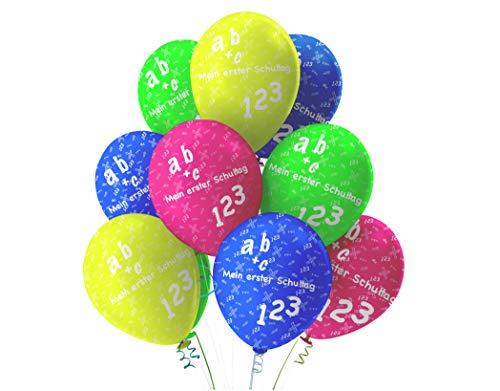 TK Gruppe Timo Klingler 20x Luftballons Schule Luftballon Ballon Einschulung Schulanfang Schule Erster Schultag ABC Schuleinführung Schulstart Deko Dekoration für Helium und Luft