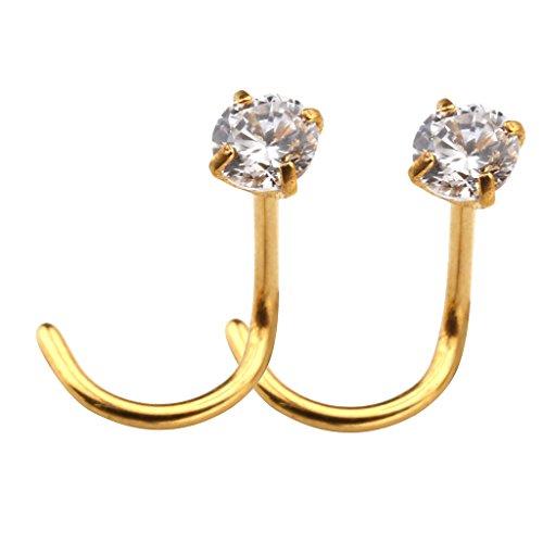 Jovivi 2pc 20G Stainless Steel Clear Cubic Zircon Nose Stud Body Piercing Hooks Earrings Ear Rings,Gold