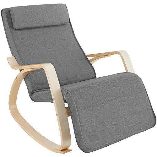 TecTake 800795 Fauteuil à Bascule Chaise Berçante Rocking Chair Repose-Pied Réglable en 5 Positions Bois Confortable – Diverses Couleurs (Gris Clair)