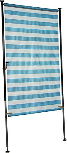 Angerer Balkon Sichtschutz Blockstreifen blau-weiß, 120 cm breit, 2318/1001