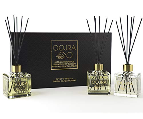 OOJRA 3 Reed Diffusers Aromatherapy Essential Oil Gift Set; Australian Eucalyptus, Japanese Cherry Blossom, French Provence Lavender; Each Decor Bottle is 2 oz , 6oz Total (Lasts 5+ Months)