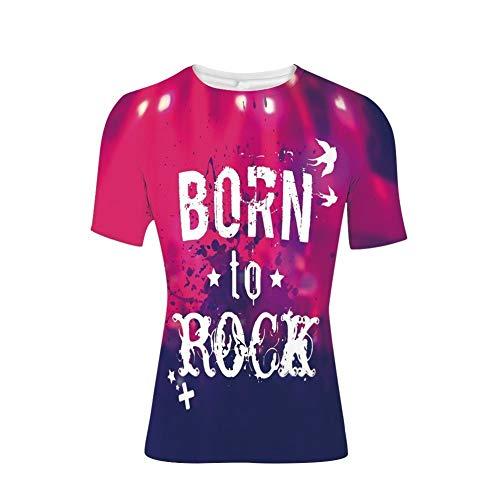T-Shirt mit kurzen Ärmeln, Rock-Konzertbühne und Crowd Grunge Artistic, Cooler 3D-Druck für Herren