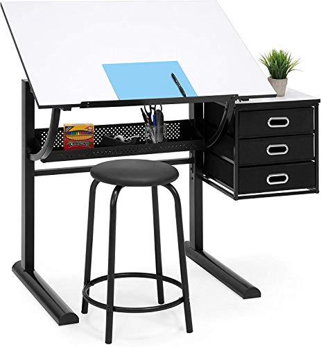 Home Drawing Drafting Craft Kunsttisch Klappbarer Verstellbarer Schreibtisch mit Hocker - Zeichentisch Kippbare Tischplatte zum Lesen,Schreiben Von Kunsthandwerk mit Hocker und Schubladen