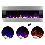 Northwest Electric Fireplace Wall Mounted with LED Fire and Ice Flame, Adjustable Heat and Remote Control, 54', Stainless Steel