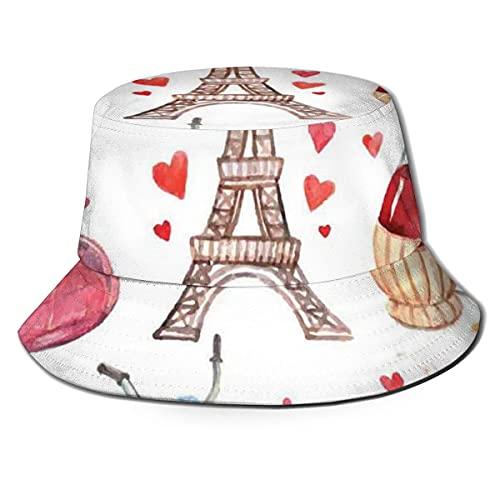Kteubro Unisex Fisherman Cap,Paris Illustration of Hearts Eiffel Tower Red Wine Coffee Perfume Romance Themed,Travel Beach Hat A1