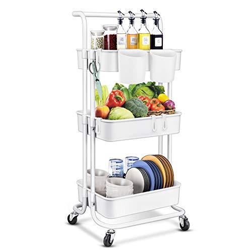 Cabilock 3 Tier Rolling Utility Cart Kitchen Storage Trolleys with Handles...