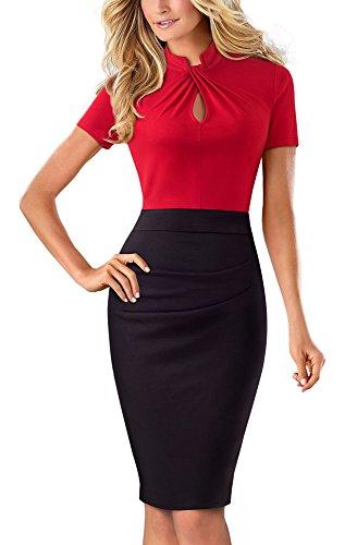 HOMEYEE Damen Vintage Stehkragen Kurzarm Bodycon Business Bleistift Kleid B430 (EU 36 = Size S, Rot)