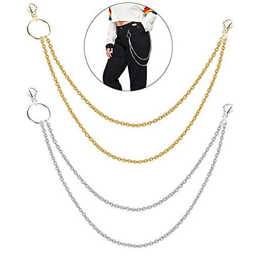 Huture Geldbörsen Kette Hosenkette Metallkette Lange Brieftasche Schlüssel Brieftasche Verschluss Kette Doppelkette Jeans Hose Kette Punk Schlüsselanhänger mit Kette für Biker Trucker, Gold und Silber