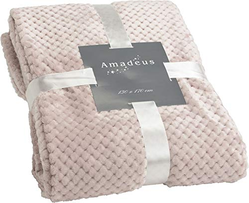 Plaid de couleur vieux rose, 130x170 cm, collection Damier, Amadeus