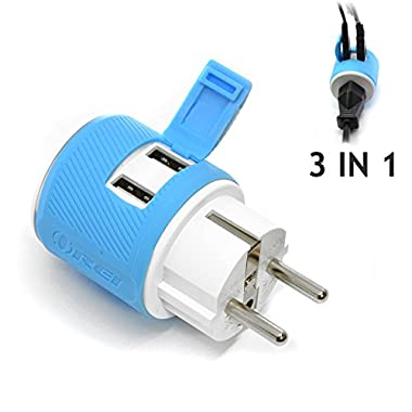OREI Germany, France, Schuko Travel Plug Adapter - Dual USB - Surge Protection - Type E/F