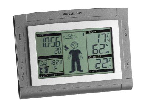 TFA Dostmann Weather Boy XS Funk-Wetterstation, mit Wetterfigur, Wettervorhersage, Raumklima, Kleidungsempfehlung, Funkuhr mit Alarm