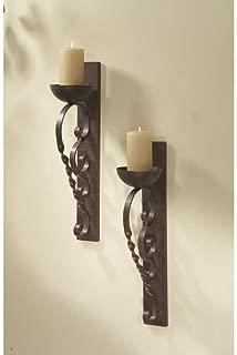CBK Iron Twisted Pillar Wall Sconces (Set of 2)