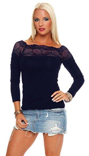 Mississhop 71 Damen Spitzenshirt Spitze Spitzen T-Shirt Bluse Shirt Langarmshirt Kurzarmshirt Dunkelblau/Langarm