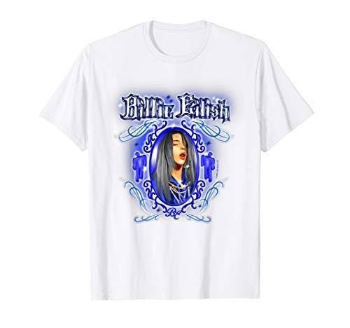 Billie Eilish Official Airbrush Graffiti Blue Blohsh T-Shirt
