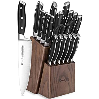 Emo joy Knife Set 18-Piece Kitchen Knife Set with Block Wooden Manual Sharpening for Chef Knife Set German Stainless Steel
