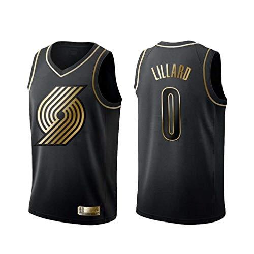 ADFA NBA0 Basketball Trikot, Portland Trail Blazers Damian Lillard # 0 Trikot Weste, 0# Fan Trikot Sportswear-Black-S