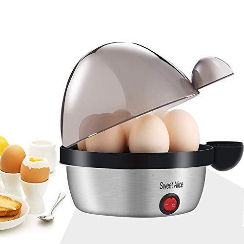 Eierkocher Edelstahl, Sweet Alice Eierkocher Testsieger Egg Cooker für 1-7 Eier mit Härtegradeinstellung, Indikationsleuchte Abschaltautomatik,Überhitzungsschutz, Messbecher, BPA-frei