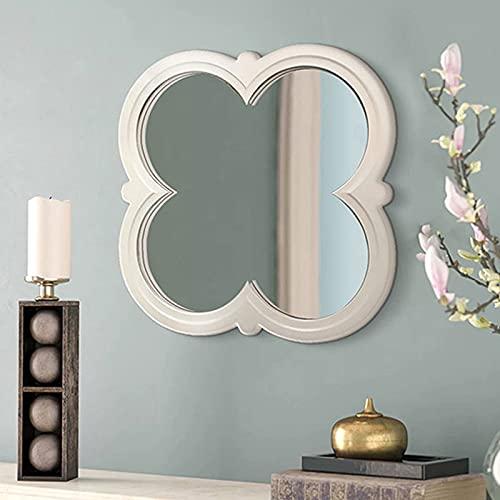 Espejo de Tocador de 28 Pulgadas, Espejo de Maquillaje con Luz, Espejo Decorativo de Flores Blancas, Espejo de Pared con Bordes de Madera Tallada a Mano de Lujo Ligero