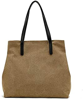 SODIAL Original Art Canvas Bag Simple Wild College Wind Shoulder Bag Big Bag Casual Bag Shopping Bag Trend Big Bag Khaki