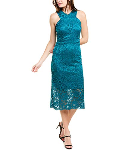 Sam Edelman Women's Sleeveless Criss Cross Lace Neck Sheath Dress, Teal, 8