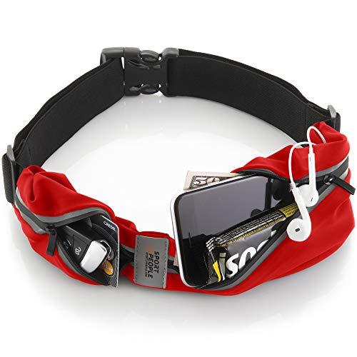 sport2people Running Belt - Laufen Gürteltasche für Herren und Damen - Laufgürtel Bauchtasche für iPhone X 7 8 11 12. Sport Hüfttasche Hände Frei Jogging, Laufen - Reflektierend Läufer Gürtel