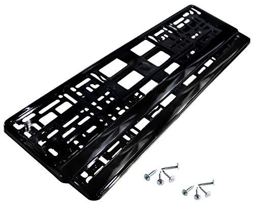 2 x Kennzeichenhalter | Schwarz | Metallic | Hochglanz | KLAVIERLACK | 520 x 110 | NEU | Schnellversand