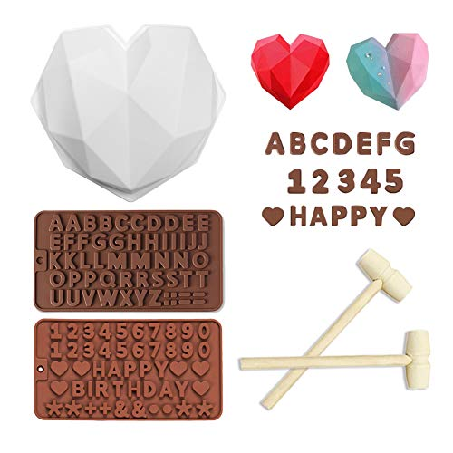 Silicone Chocolate Mold, Diamond Heart Shape Candy Cake Mold with Wooden Hammers, 8.7 Inch Mousse Dessert Baking Pan for Home Kitchen DIY Tools (3pcs silicone molds + 2pcs wooden hammers)