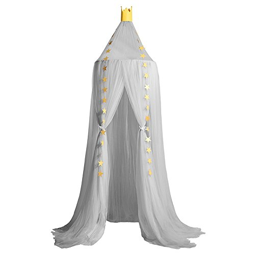 Didihou Bed Canopy 10 Pieces Yarn Play Tent Bedding for Kids Mosquito Net Crib Canopy Playing Corner Reading Nook Dome Netting Curtains for Baby Boys and Girls Games House (Grey)