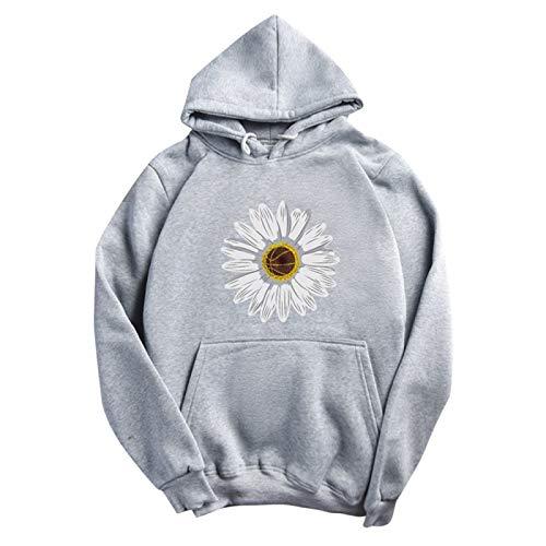 WMNU Women Hoodies Casual Loose Fleece Hooded Printed Pocket Long Sleeve Sweatshirt Solid Hip Hop Streetwear