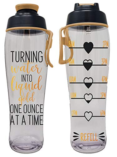 Pregnancy Water Bottle - Best Gift for Pregnant Women - Perfect for Care Package or Box for Expecting Moms - Great Gifts for Any Trimester - BPA Free w/ Flip Top Cap (Liquid Gold Tracker, 30 oz.)