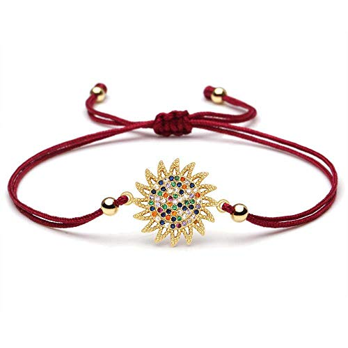 ANGYANG Woven Bracelet,Burgundy Red Rope With Shiny Multicolor Cubic Zirconia Golden Copper Sun Woven Adjustable Charm Bracelets Classic Friendship Gift For Kids Boy Girl Women