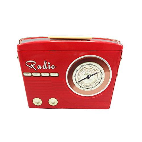 stylebox Caja de conservación y Decorativa de Metal - Radio Rojo Caja de Galletas. Deco Box Retro 22x6x16 cm