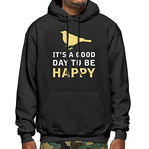 Heyuanqinkeji Mens Katoen Pullover Comfortabele Hoodie Sweatshirt Zwarte Print Gele Vogel met Gelukkige Woorden Hooded Shirts met Pocket
