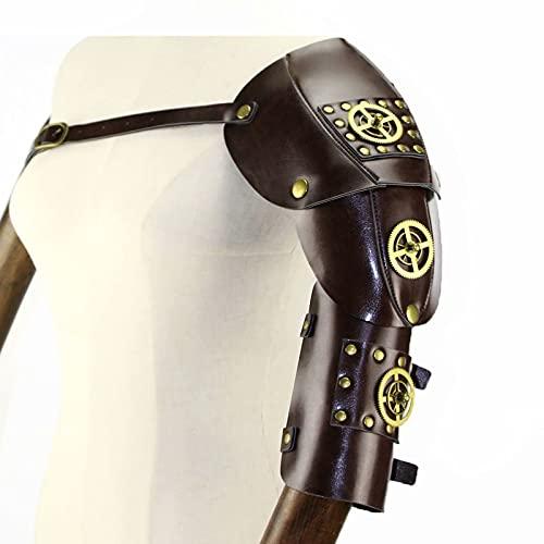 WEIFAN Brazalete de armadura de hombro de cuero retro medieval Steampunk, disfraces de Halloween para cosplay para hombres y mujeres